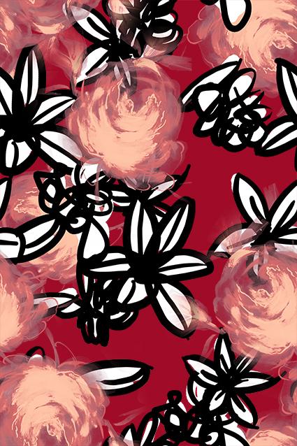 大红袍水彩黑色素描花
