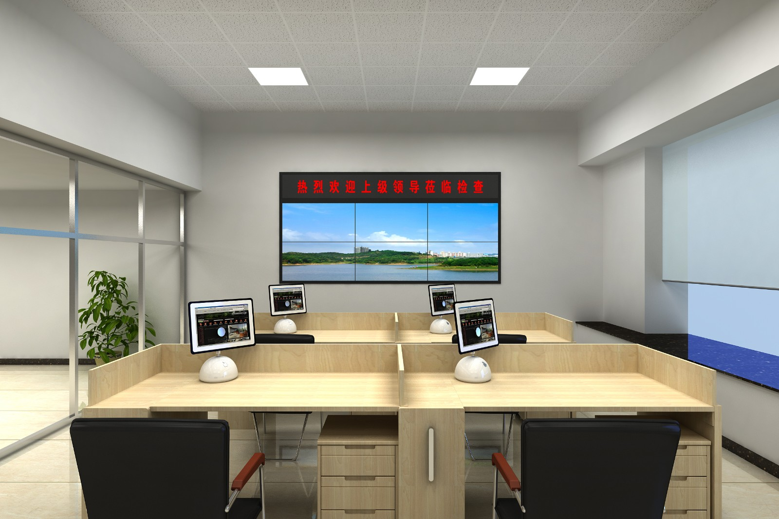 46寸液晶显示屏壁挂 2x3效果图