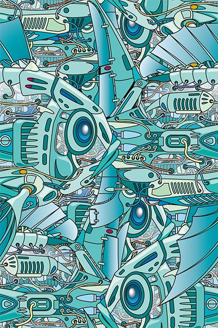 渐变卡通机械太空船