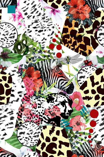 豹纹图绘矢量花