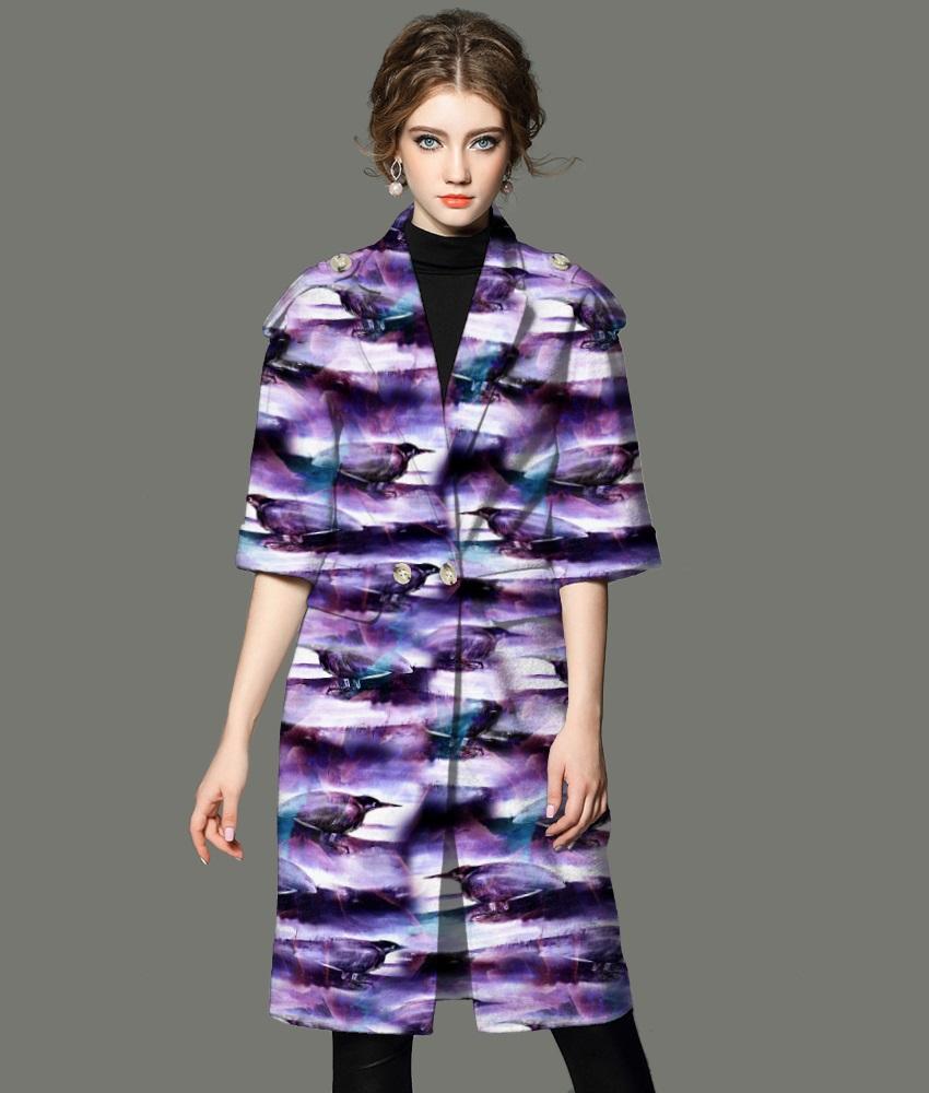 紫色抽象渲染小鸟