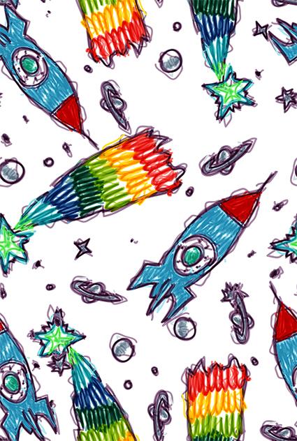 涂鸦水彩太空火箭