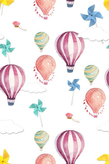 折纸风车手绘热气球