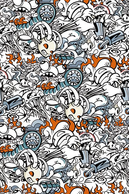 卡通素描怪兽图案