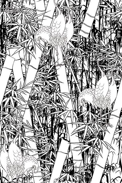 黑白仙鹤素描竹林