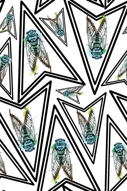 几何直角素描鸣蝉