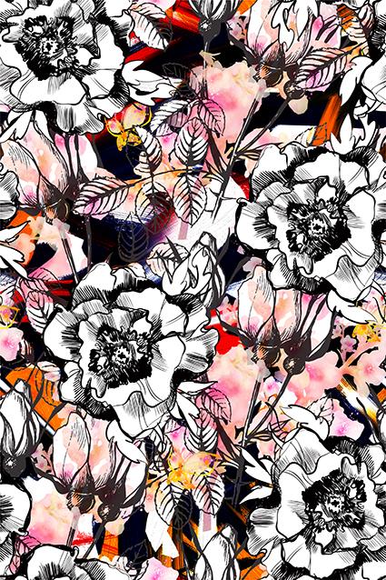 黑白素描植物花叶