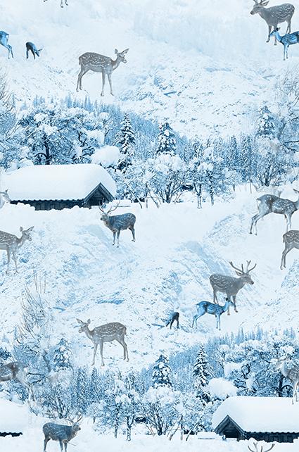 冰雪树丛移迁鹿群