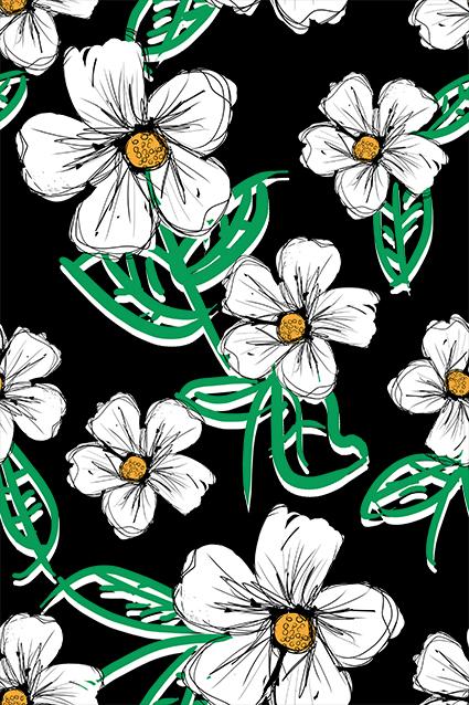矢量线条盛开花朵
