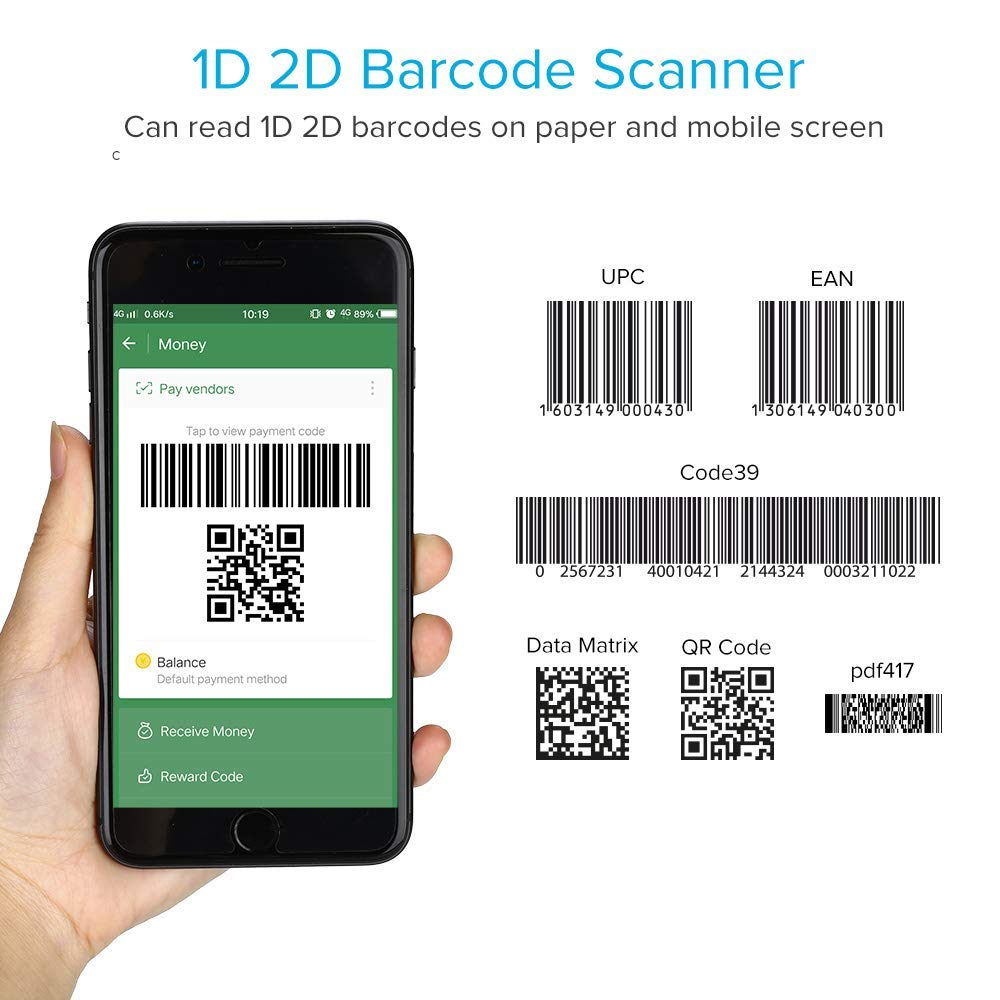 Portable Ring 1D 2D QR Barcode Scanner,Wearable Wireless