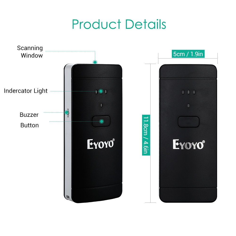 Eyoyo 1D 2D QR Wireless Barcode Scanner, Compatible with Bluetooth Function & Wired Connection Portable CCD PDF417 Data Matrix Bar Code Reader for Mobile Payment Computer Screen