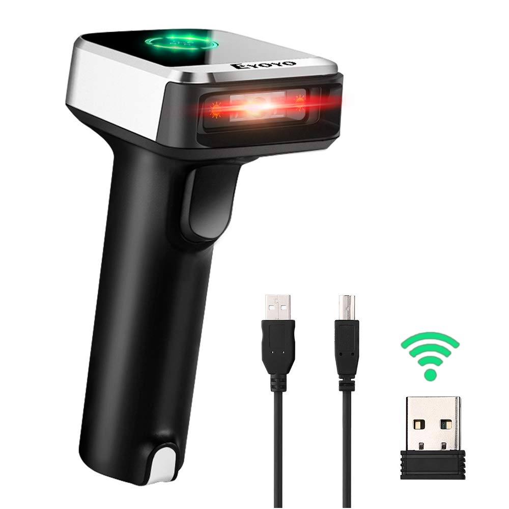 Eyoyo 1D 2D QR Wireless Barcode Scanner, Compatible with Bluetooth Function & 2.4GHz Wireless & Wired Connection, CCD PDF417 Data Matrix Bar Code Reader for iPad, iPhone, Android Phones, Tablets