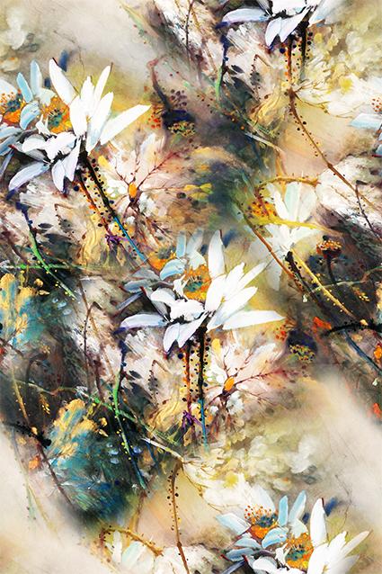 水墨渲染水彩花卉