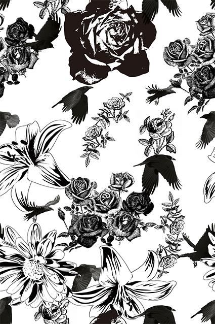 黑白艺术文艺花卉