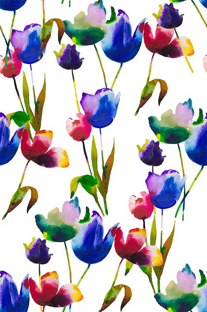 渲染水彩美丽花朵