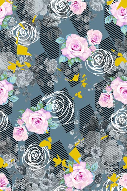 几何素描线条元素花朵