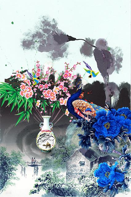 渲染水墨花瓶孔雀