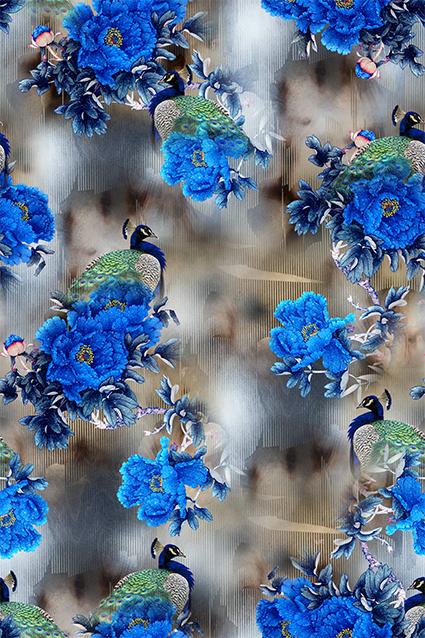 蓝色牡丹孔雀花琼