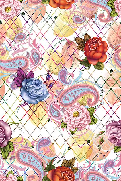 几何棱角线条腰果花卉