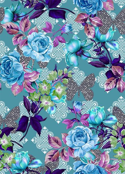 蝴蝶花边元素花卉