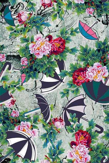 卡通雨伞元素牡丹花