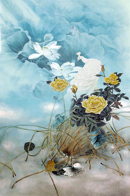 植物荷叶孔雀花卉