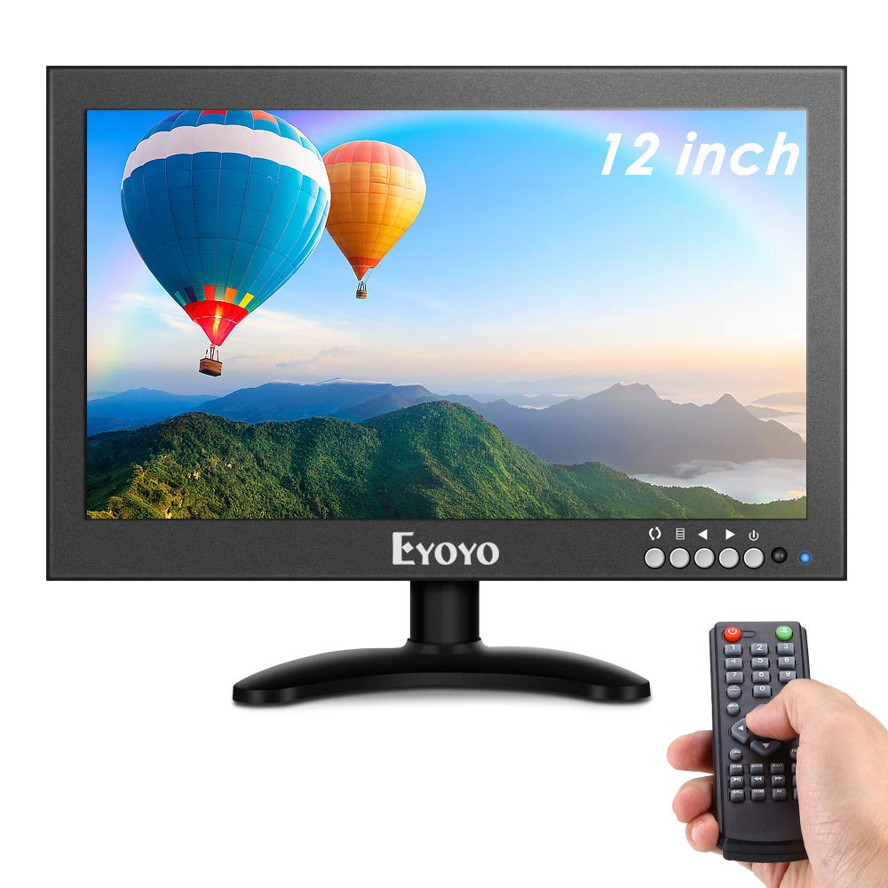 Eyoyo 12'' inch Small HDMI CCTV Monitor, 1366x768 IPS Metal Housing LED Screen W/Wall Bracket&Remote Control with HDMI/VGA/AV/BNC Input Built-in Speakers for PC, Security Camera, Raspberry Pi