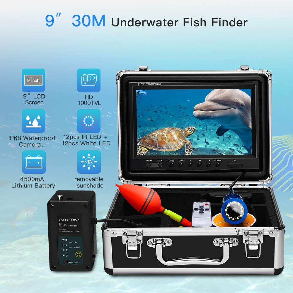 Eyoyo 9 Inch Underwater Fishing Camera Video Fish Finder HD 1000 TVL LCD Monitor Waterproof Camera Adjustable Infrared & White Light for Ice Lake Sea Boat Kayak Fishing 30m(98ft) Cable