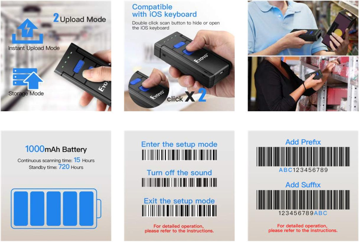 Eyoyo MJ2877 Bluetooth Barcode Scanner 1D Laser Portable USB Bluetooth 2.4G Wireless Barcode Reader Wireless Transfer Distance