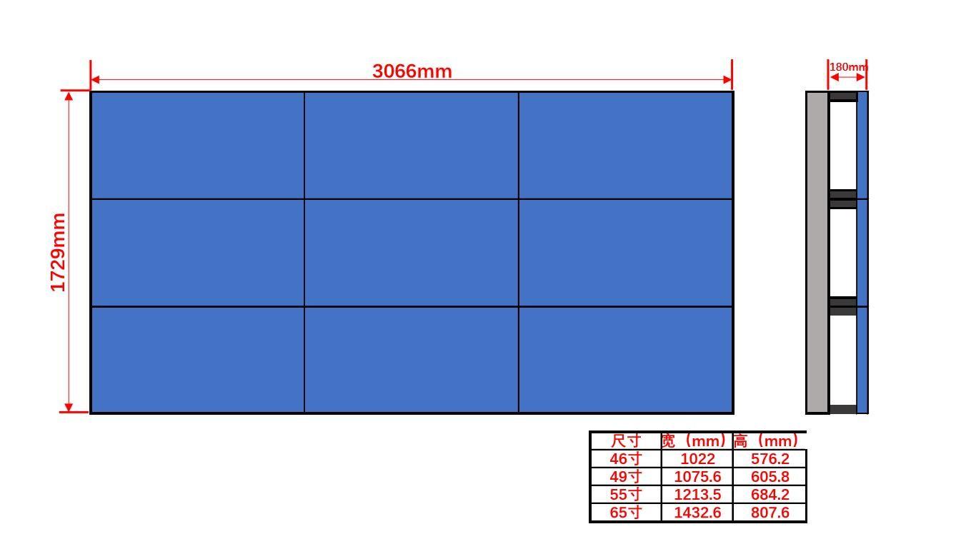 46寸液晶显示屏壁挂3×3尺寸图