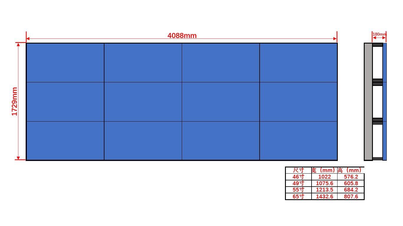 46寸液晶显示屏壁挂3×4尺寸图