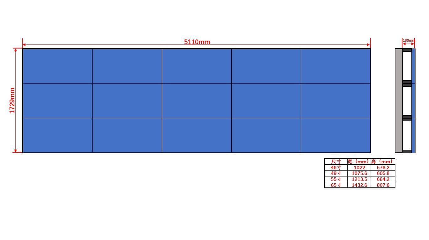 46寸液晶显示屏壁挂3×5尺寸图