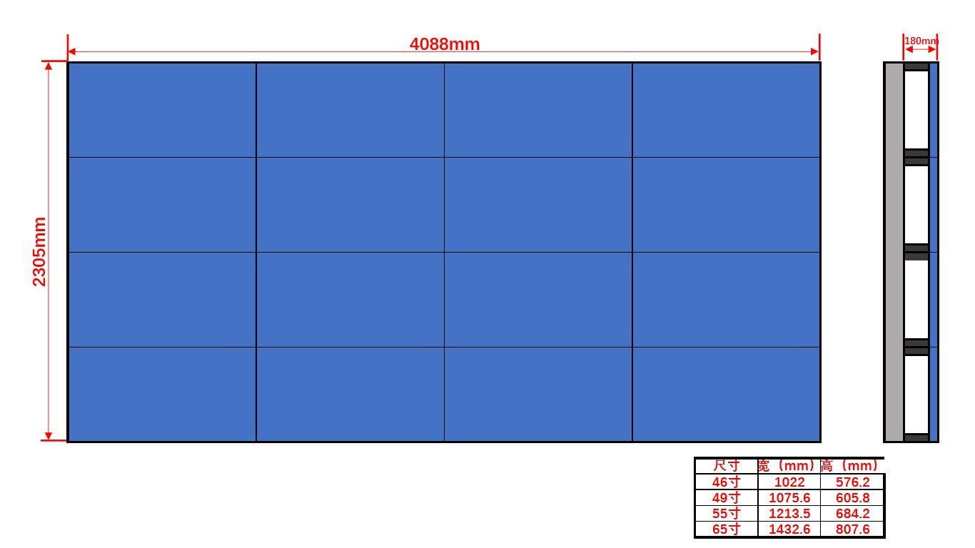 46寸液晶显示屏壁挂4×4尺寸图