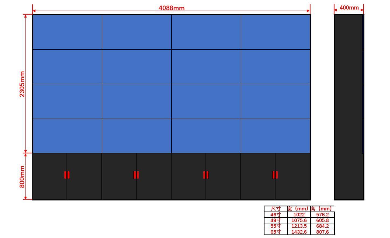 46寸液晶显示屏机柜4×4尺寸图