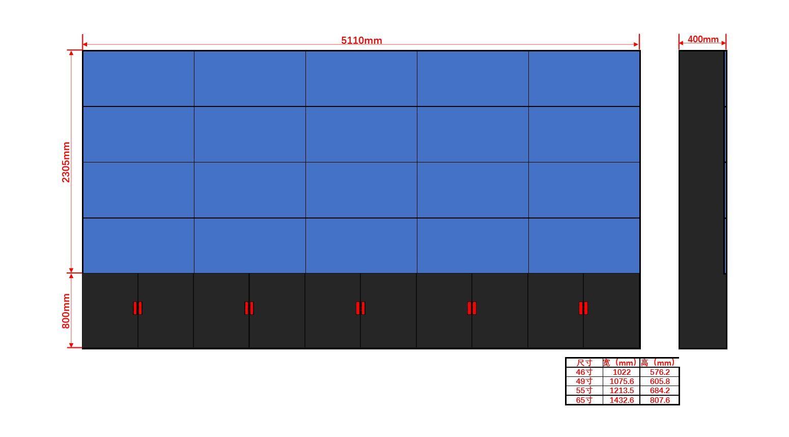 46寸液晶显示屏机柜4×5尺寸图