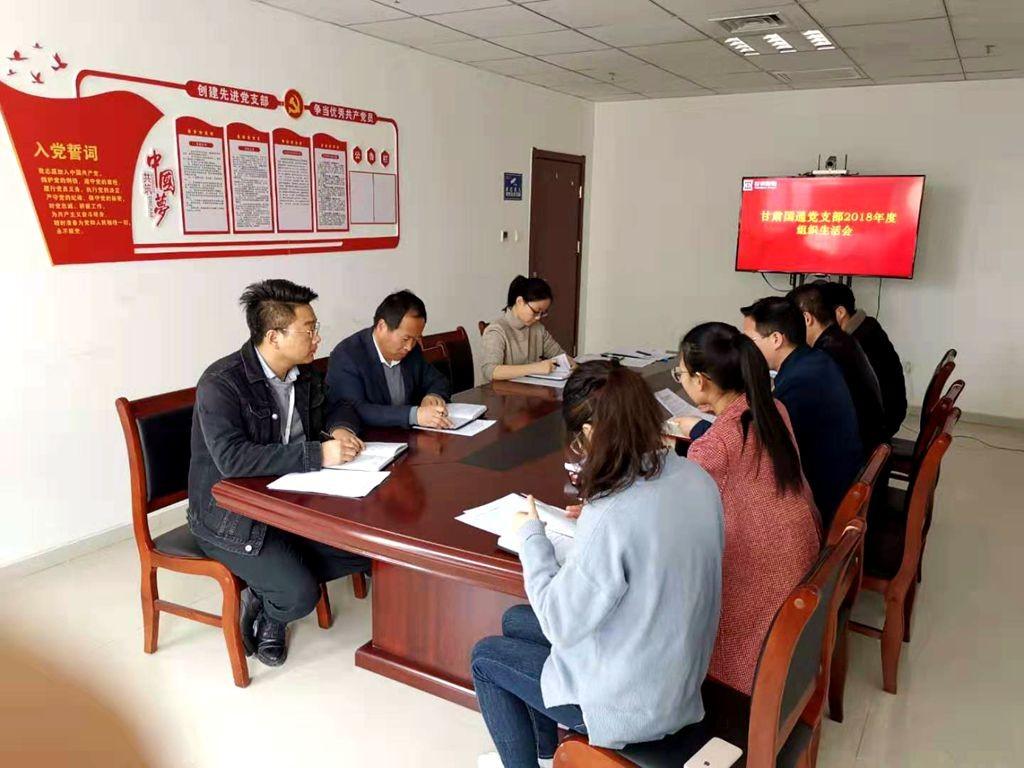 甘肃国通党支部召开2018年度组织生活会