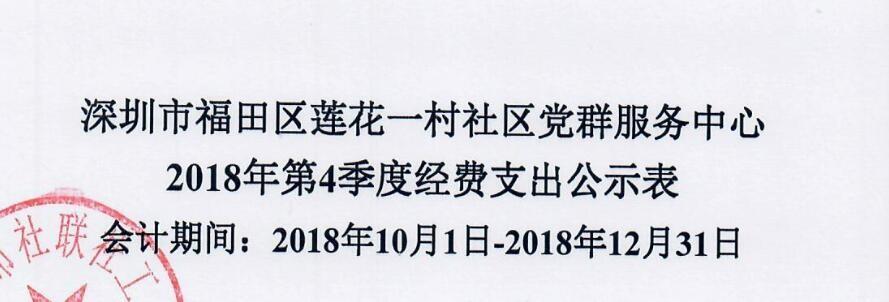 2018年莲花一村社区第四季度费用支出表