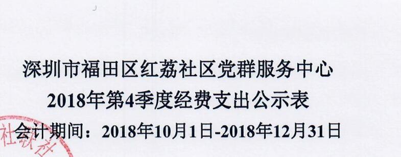 2018年红荔社区第四季度费用支出表