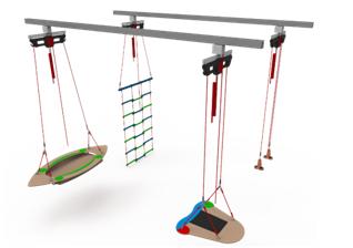 儿童悬吊训练系统(轨道式,三工作站,4米轨)
