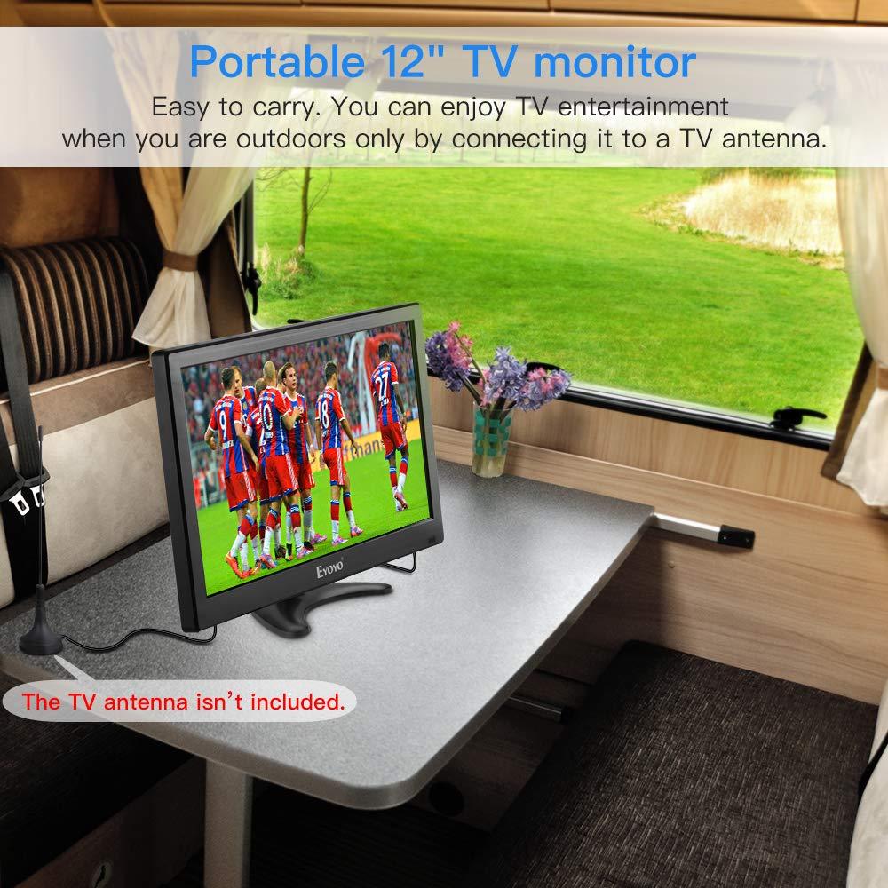 Eyoyo 12 inch Small TV Portable HDMI Monitor Kitchen TV with 1920x1080 IPS LCD Screen Display w/TV/HDMI/VGA/AV-BNC/USB Inputs & Dula Loud Speakers & Remote Control