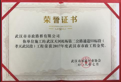 2017年度武汉市政示范工程金奖