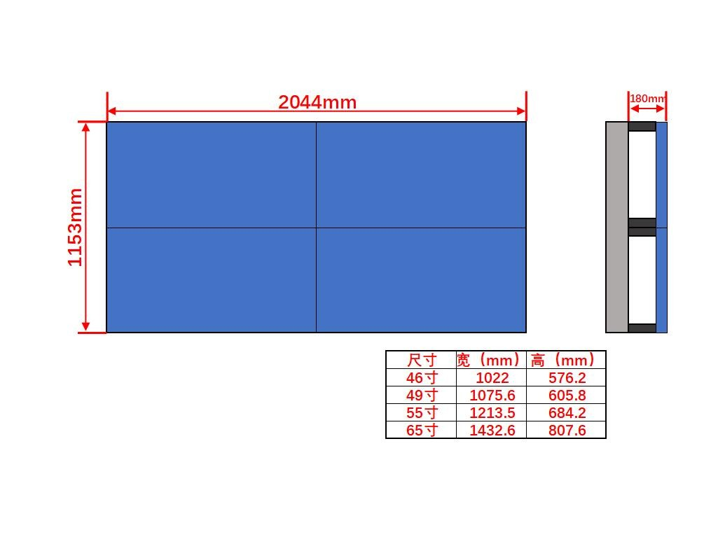 46寸液晶显示屏壁挂2×2尺寸图