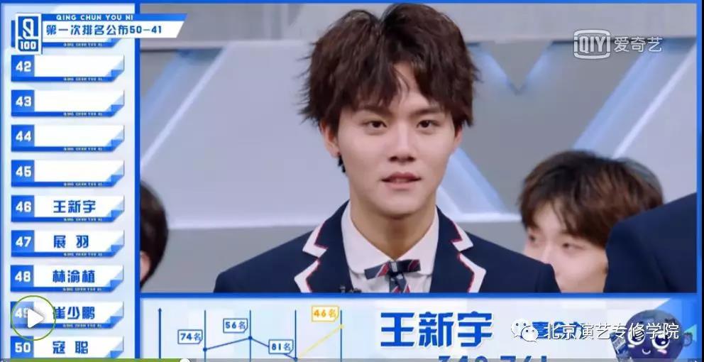 《青春有你》首轮人气排位淘汰赛 我院学子展羽 、王新宇成功进入60强