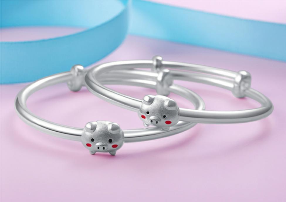 足银宝宝手镯 可爱银猪生肖对镯