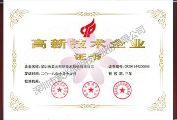 高新技术企业证书(2018年)