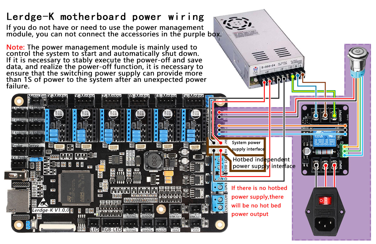 Lerdge K Motherboard Basic Wiring Instructions Manual Guide