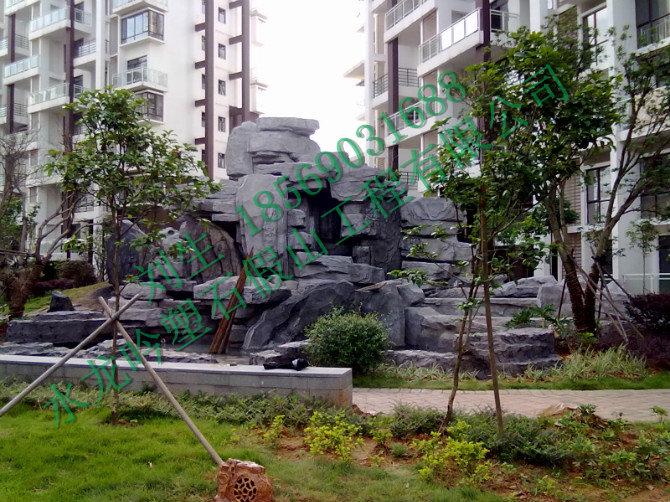 广西房地产假山瀑布景观工程