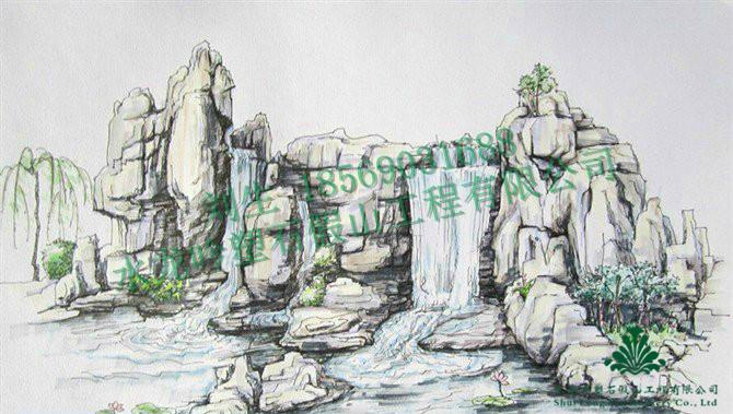 塑石假山手绘图,假山瀑布设计