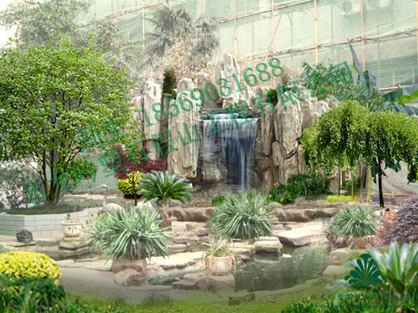 庭院假山设计_塑石假山效果图