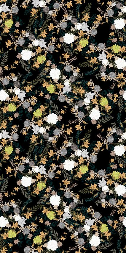 黑底矢量褐色花叶服饰